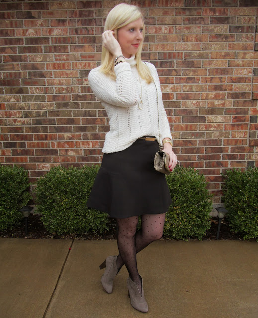 Black Flared Skirt + Polka Dot Tights {Fancy Friday} by Washington DC fashion blogger Styled Blonde