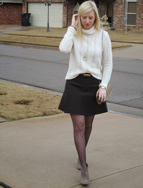 Black Flared Skirt + Polka Dot Tights {Fancy Friday} by Washington DC fashion blogger Styled Blonde