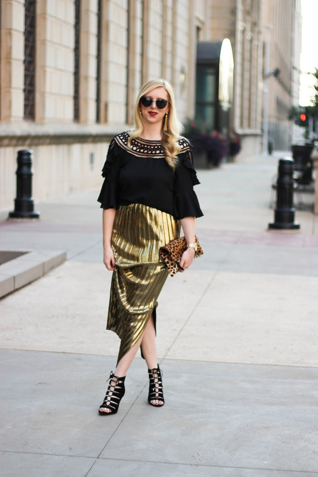 Holiday Ready in a Gold Pleated Skirt and Black Bell Sleeves by Washington DC fashion blogger Styled Blonde