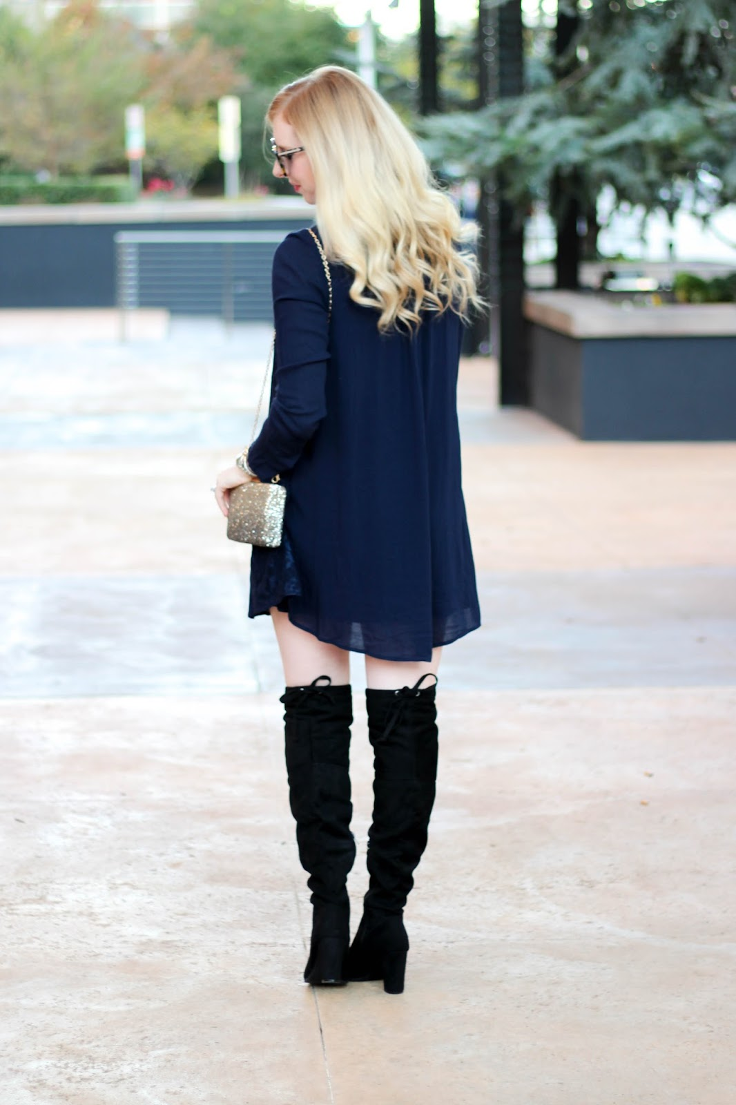 Holiday Outfit In Black Navy Amp Sparkles Styled Blonde