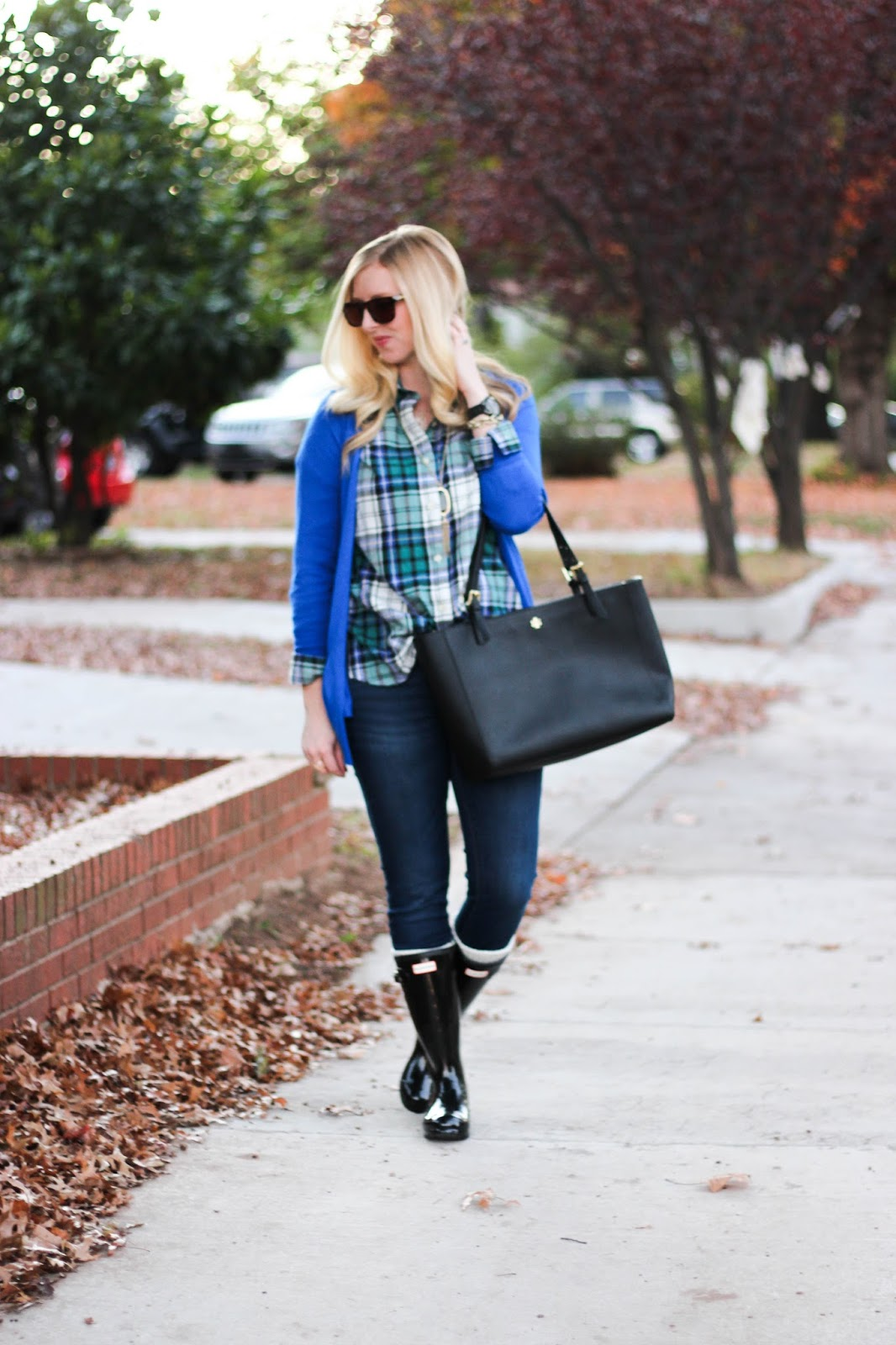 Plaid Top and Hunter Rainboots by Washington DC fashion blogger Styled Blonde