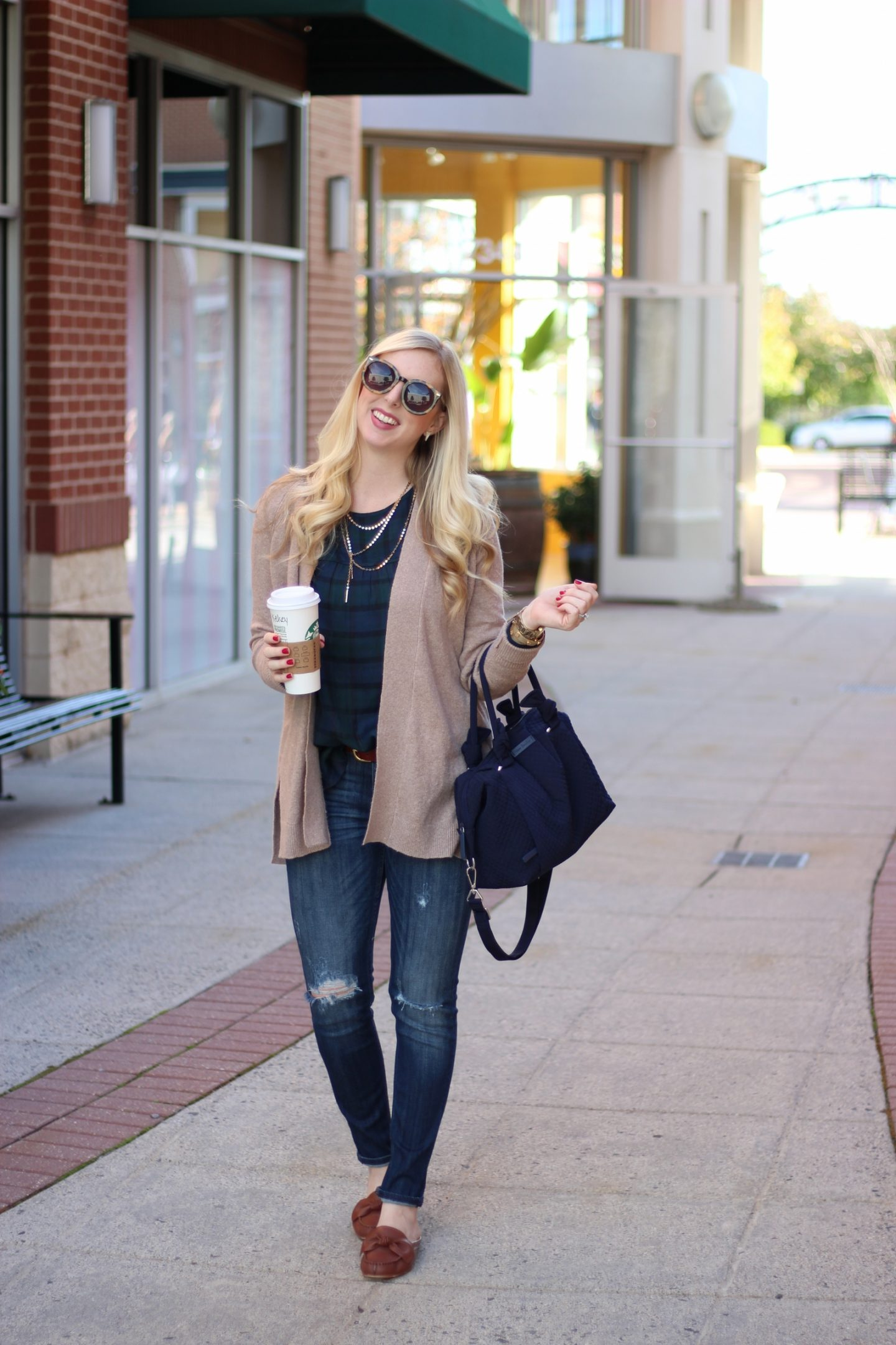 Blackwatch Plaid with a Cozy Cardigan by Washington DC fashion blogger Styled Blonde