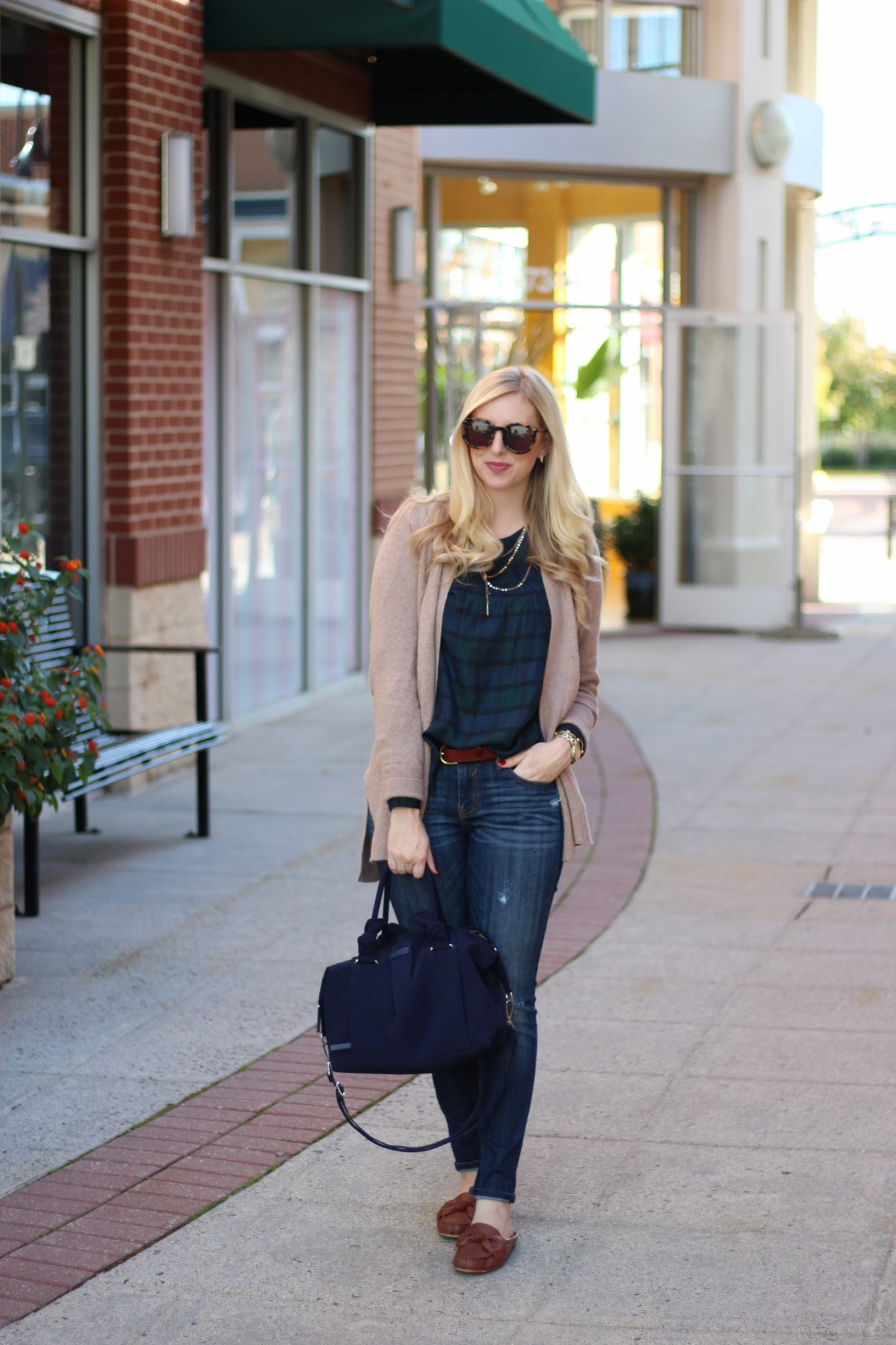 Blackwatch Plaid with a Cozy Cardigan by Washington DC fashion blogger Styled Blonde