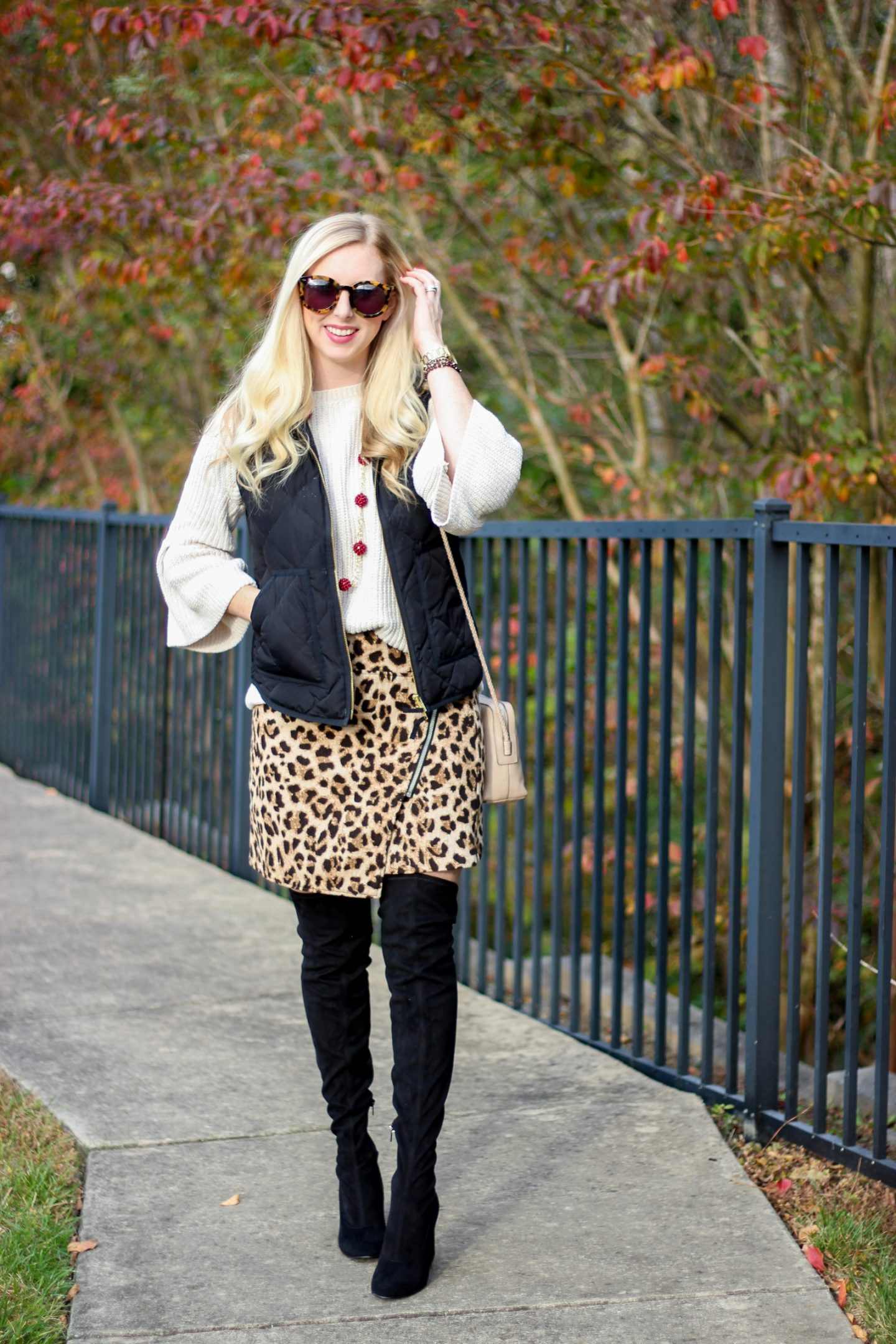 SALE Outfit with A Leopard Skirt & Over The Knee Boots by Washington DC fashion blogger The Styled Blonde