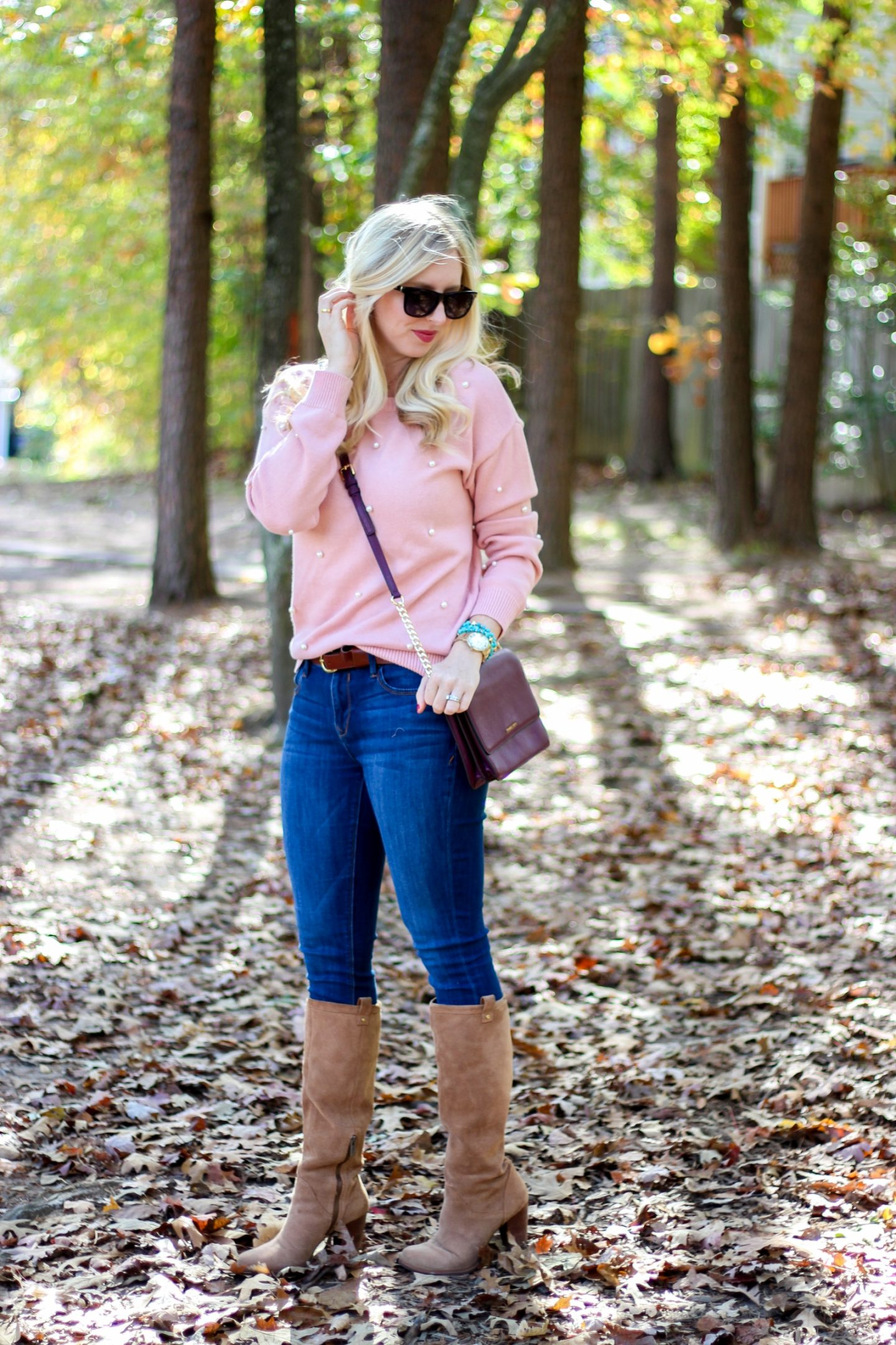 Pearl Embellished Sweater by Washington DC fashion blogger Styled Blonde