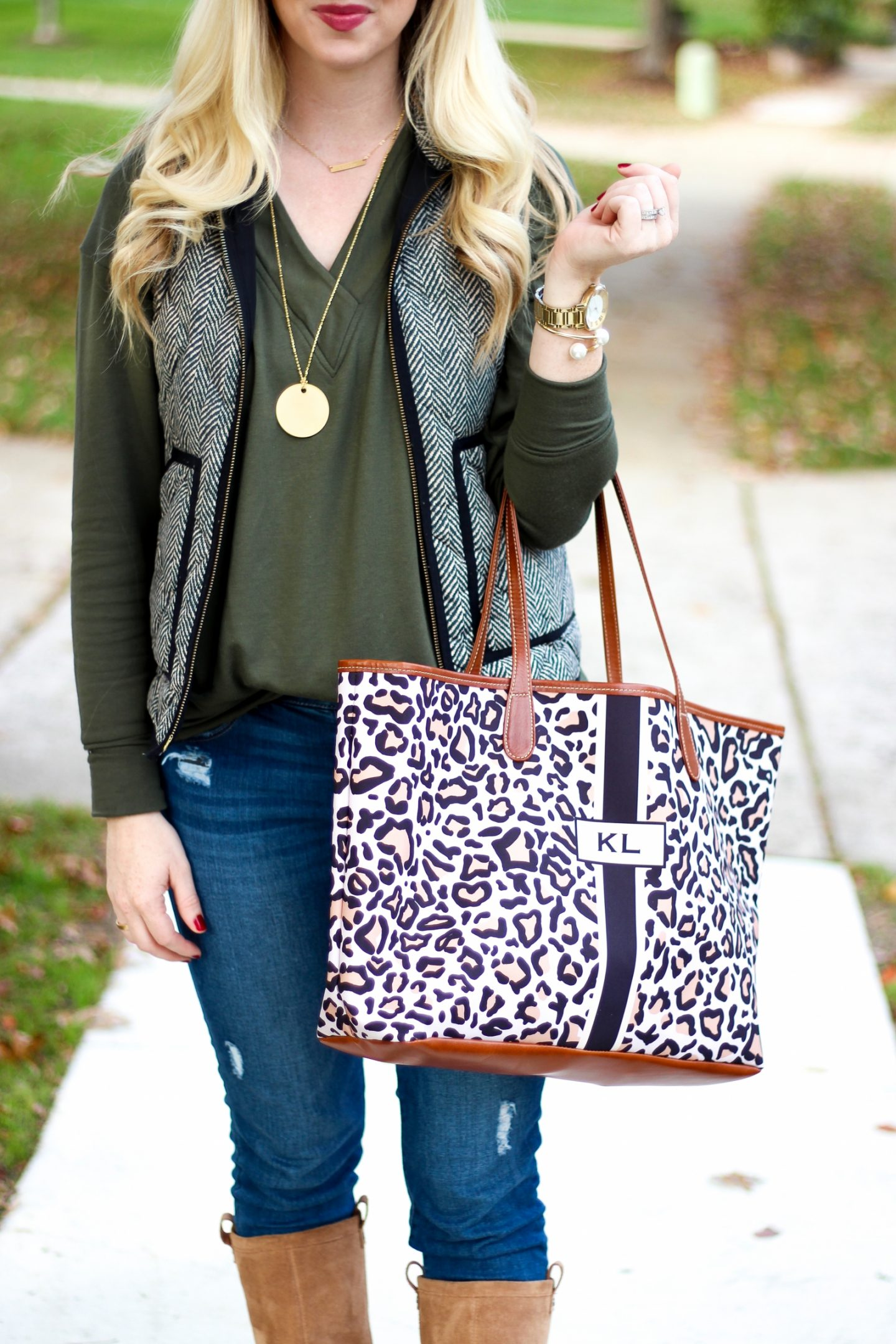 Favorite Fall Outfit in Herringbone & Leopard by Washington DC fashion blogger Styled Blonde