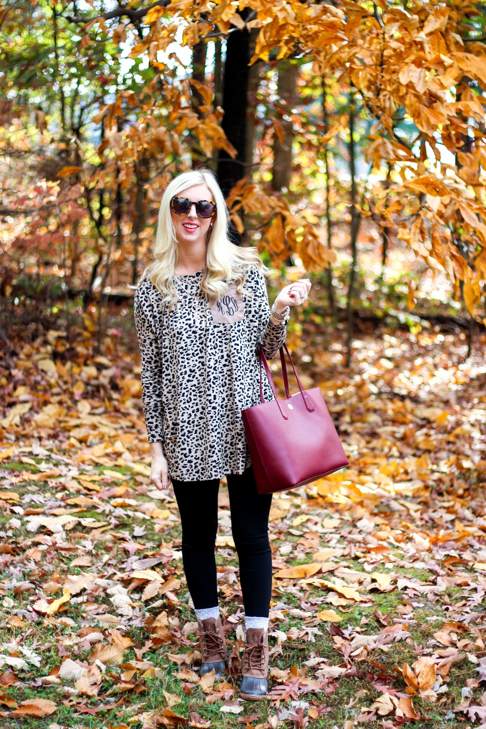 c27532f4baa56 Styled Blonde Monogram Duck Boots Sherpa Vest and Leopard Tunic-8 ...