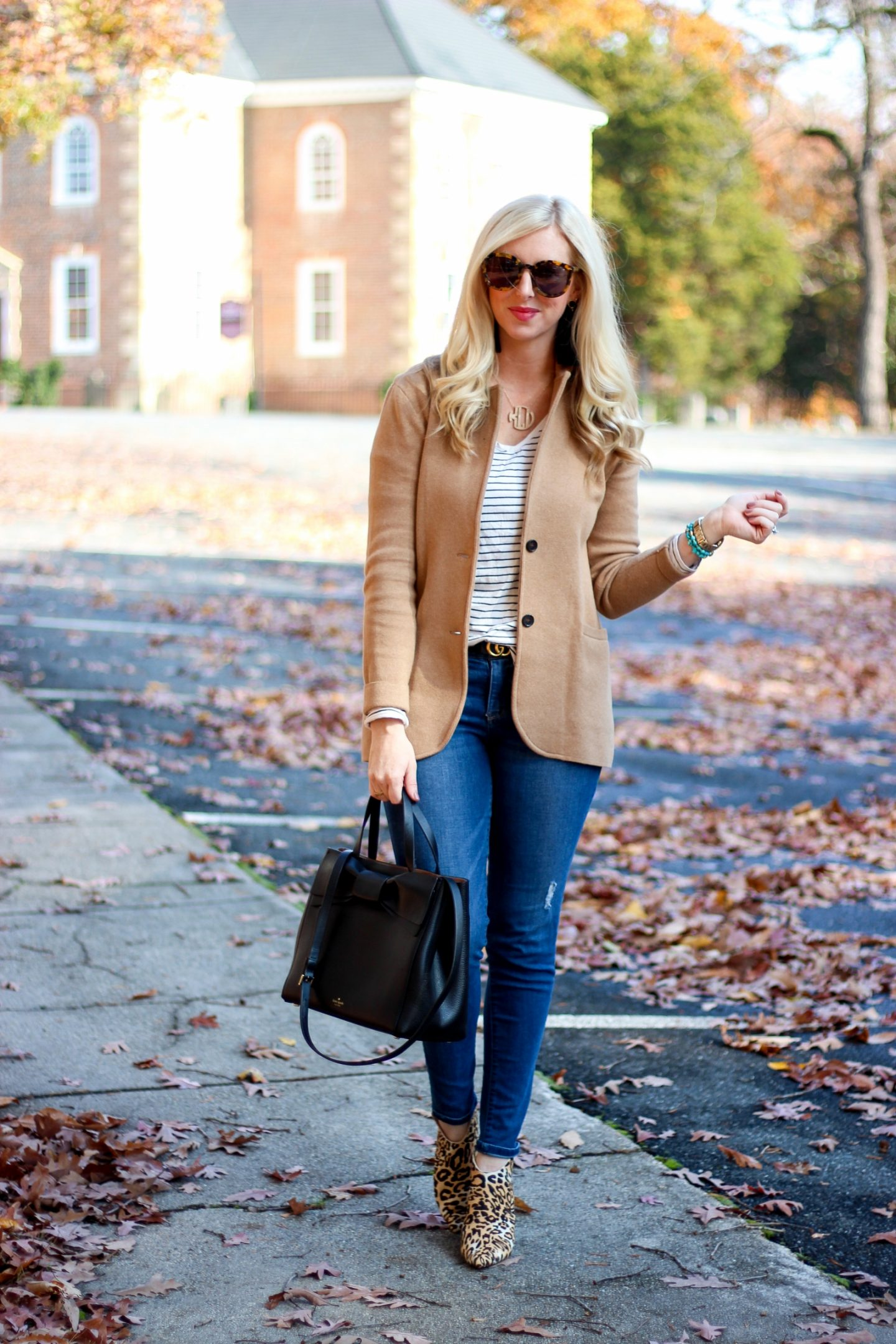 Sweater Blazer & Leopard Mules by Washington DC style blogger Styled Blonde
