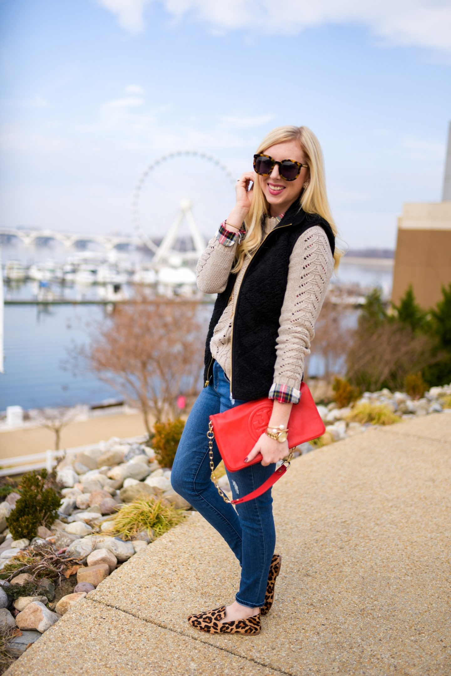 Layered Outfit: Sherpa Vest, Plaid & Cable Knit by Washington DC style blogger Styled Blonde