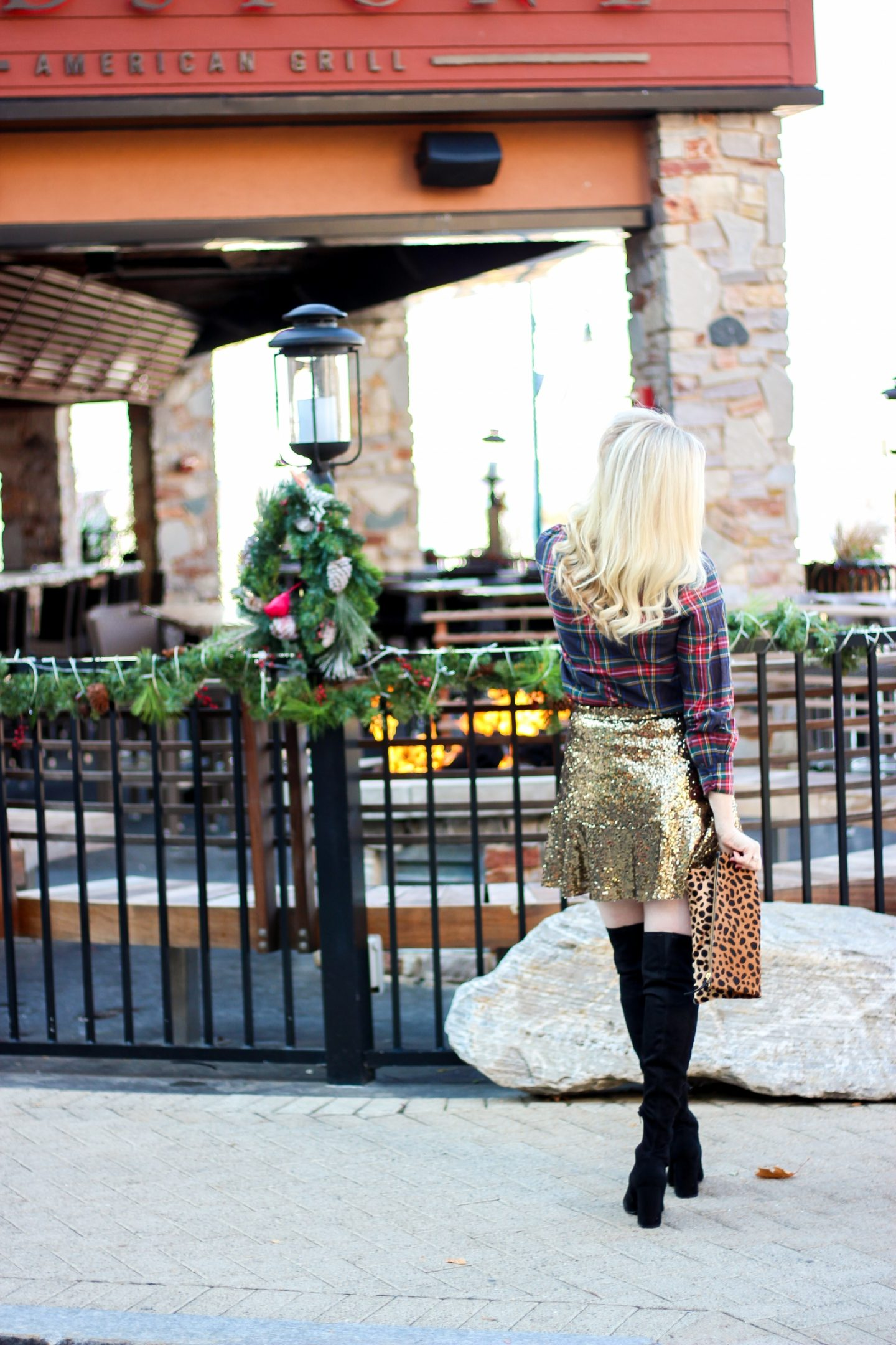 Holiday Outfit: Print Mixing with Leopard, Plaid & Sequins by Washington DC style blogger Styled Blonde